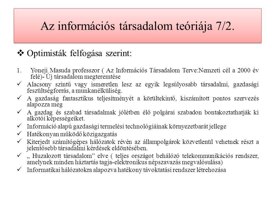 Az információs társadalom teóriája 7/2.