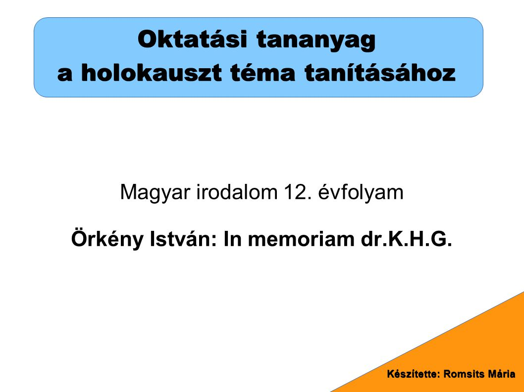 Oktatási tananyag a holokauszt téma tanításához