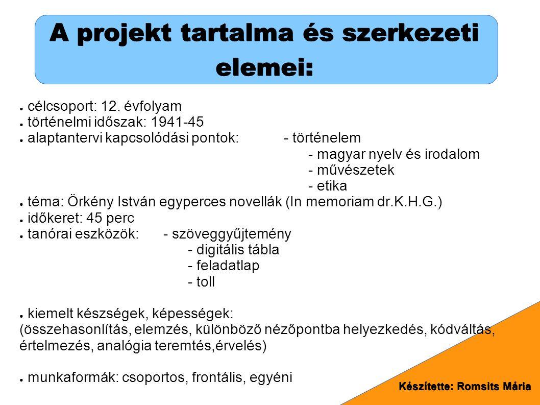 A projekt tartalma és szerkezeti elemei: