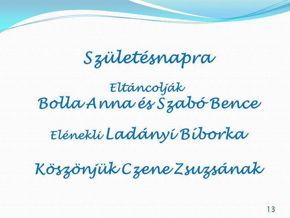 Születésnapra Bolla Anna és Szabó Bence Köszönjük Czene Zsuzsának