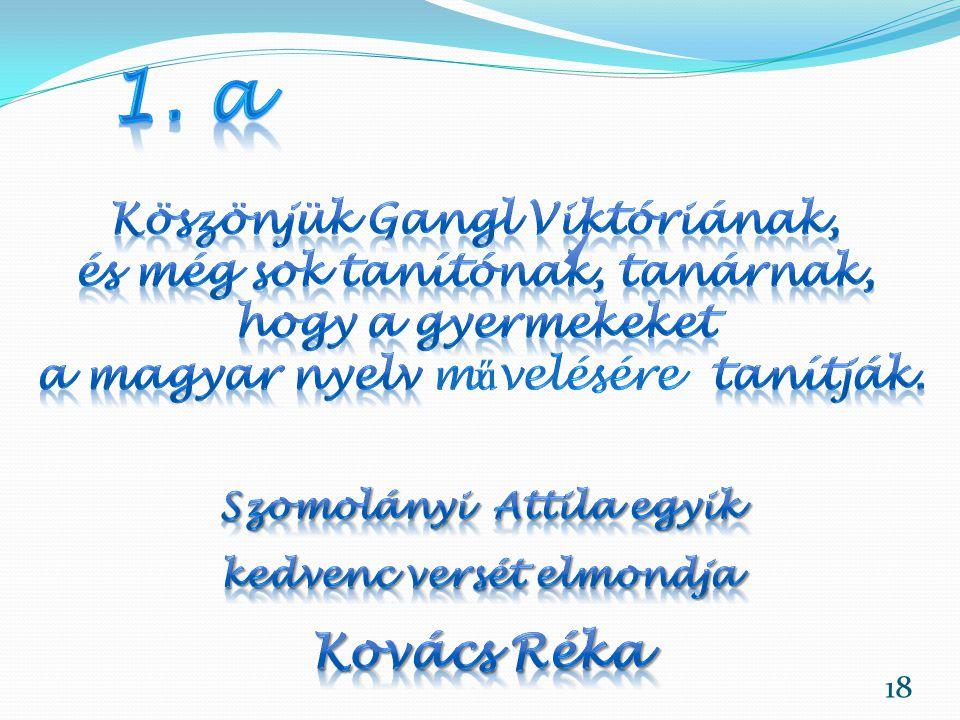1. a Kovács Réka Köszönjük Gangl Viktóriának,