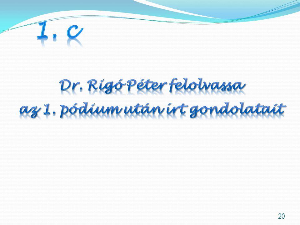 Dr. Rigó Péter felolvassa az 1. pódium után írt gondolatait