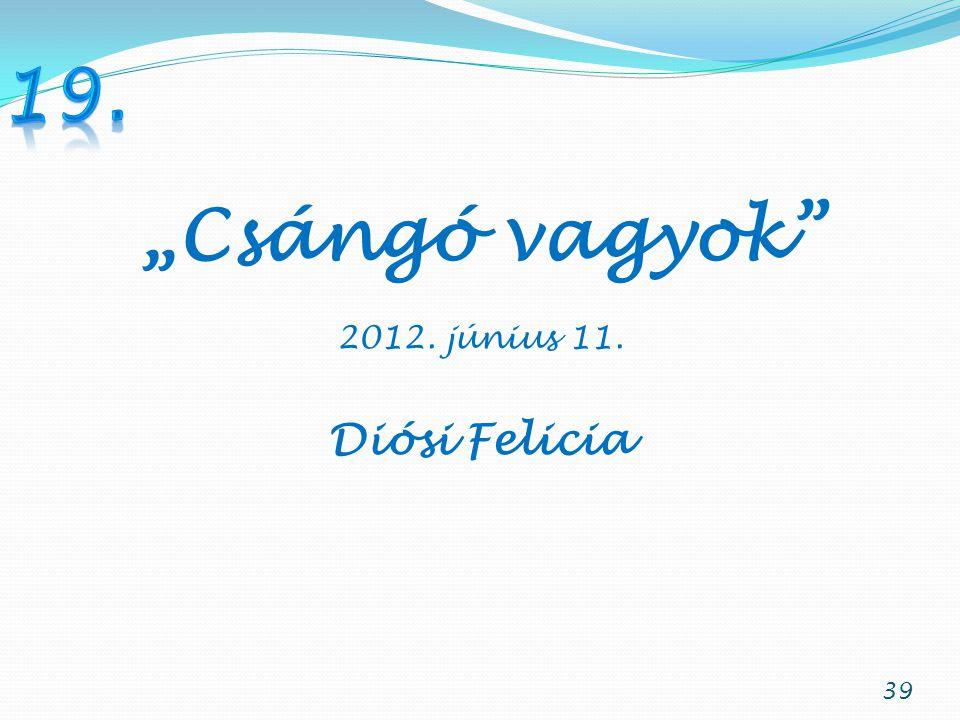 """19. """"Csángó vagyok 2012. június 11. Diósi Felicia"""