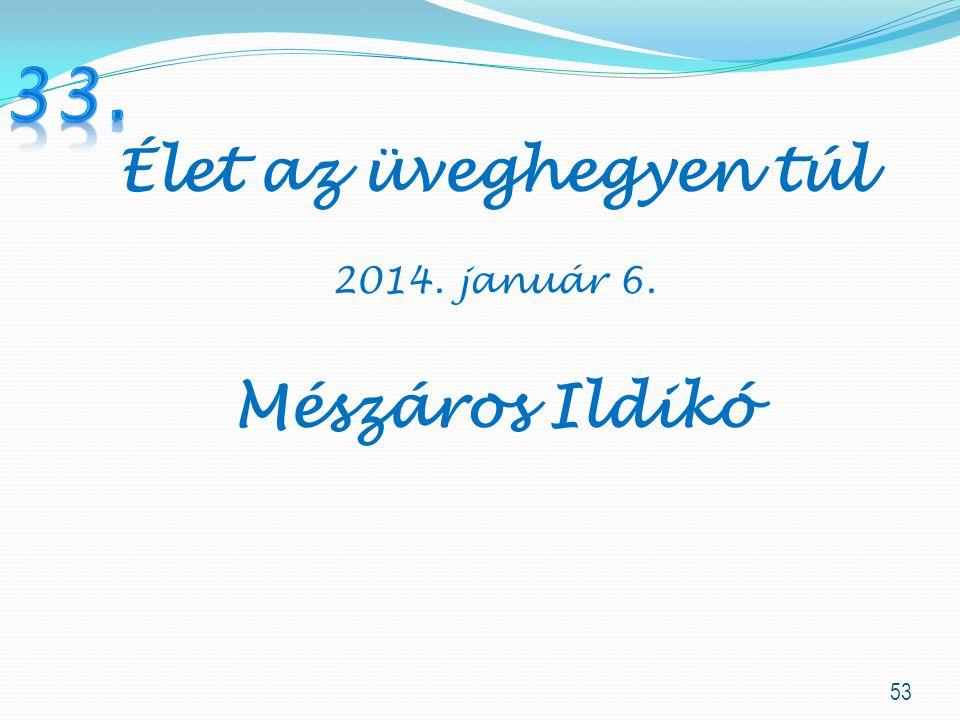33. Élet az üveghegyen túl 2014. január 6. Mészáros Ildikó