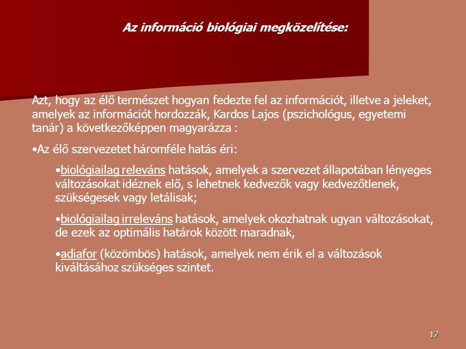 Az információ biológiai megközelítése: