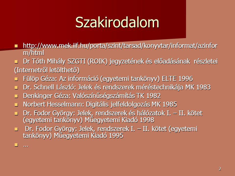Szakirodalom http://www.mek.iif.hu/porta/szint/tarsad/konyvtar/informat/azinform/html.