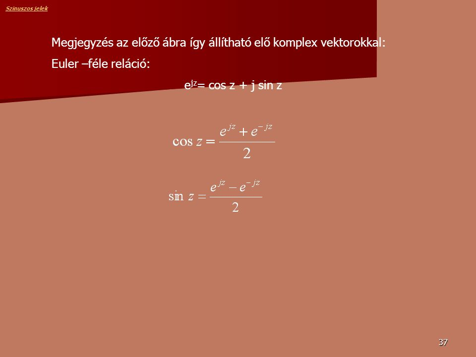 Megjegyzés az előző ábra így állítható elő komplex vektorokkal: