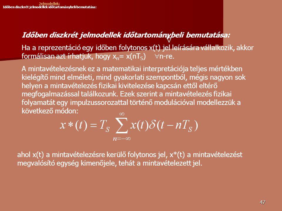 Jelmodellek: Időben diszkrét jelmodellek időtartománybeli bemutatása: