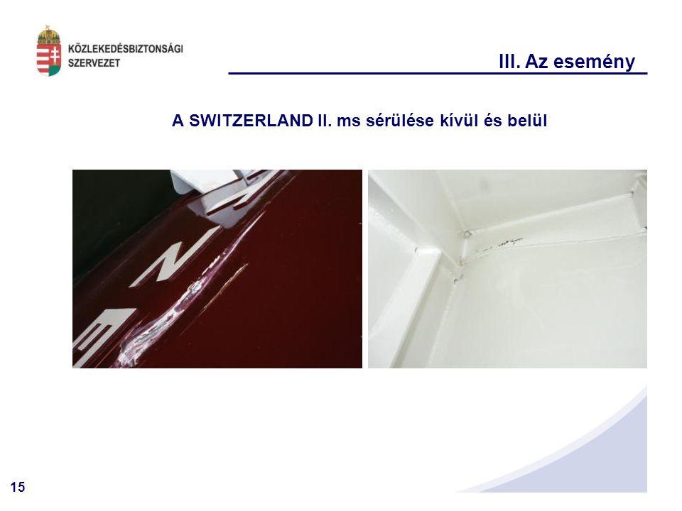 A SWITZERLAND II. ms sérülése kívül és belül
