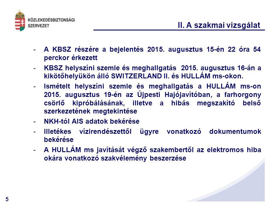 II. A szakmai vizsgálat A KBSZ részére a bejelentés 2015. augusztus 15-én 22 óra 54 perckor érkezett.