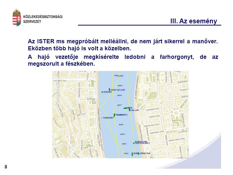 III. Az esemény Az ISTER ms megpróbált melléállni, de nem járt sikerrel a manőver. Eközben több hajó is volt a közelben.
