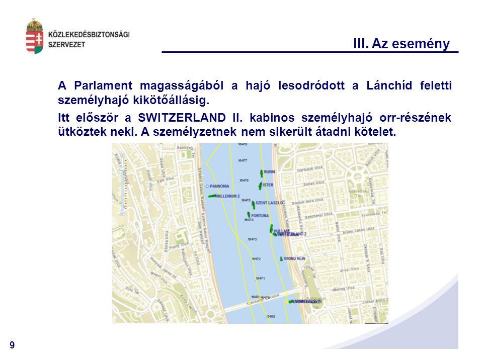 III. Az esemény A Parlament magasságából a hajó lesodródott a Lánchíd feletti személyhajó kikötőállásig.