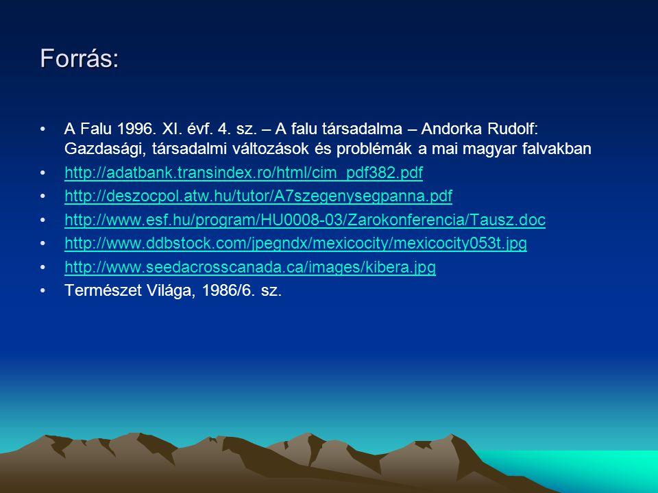 Forrás: A Falu 1996. XI. évf. 4. sz. – A falu társadalma – Andorka Rudolf: Gazdasági, társadalmi változások és problémák a mai magyar falvakban.