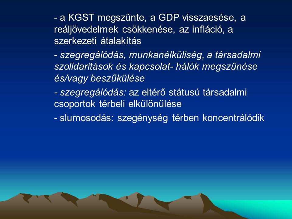 - a KGST megszűnte, a GDP visszaesése, a reáljövedelmek csökkenése, az infláció, a szerkezeti átalakítás