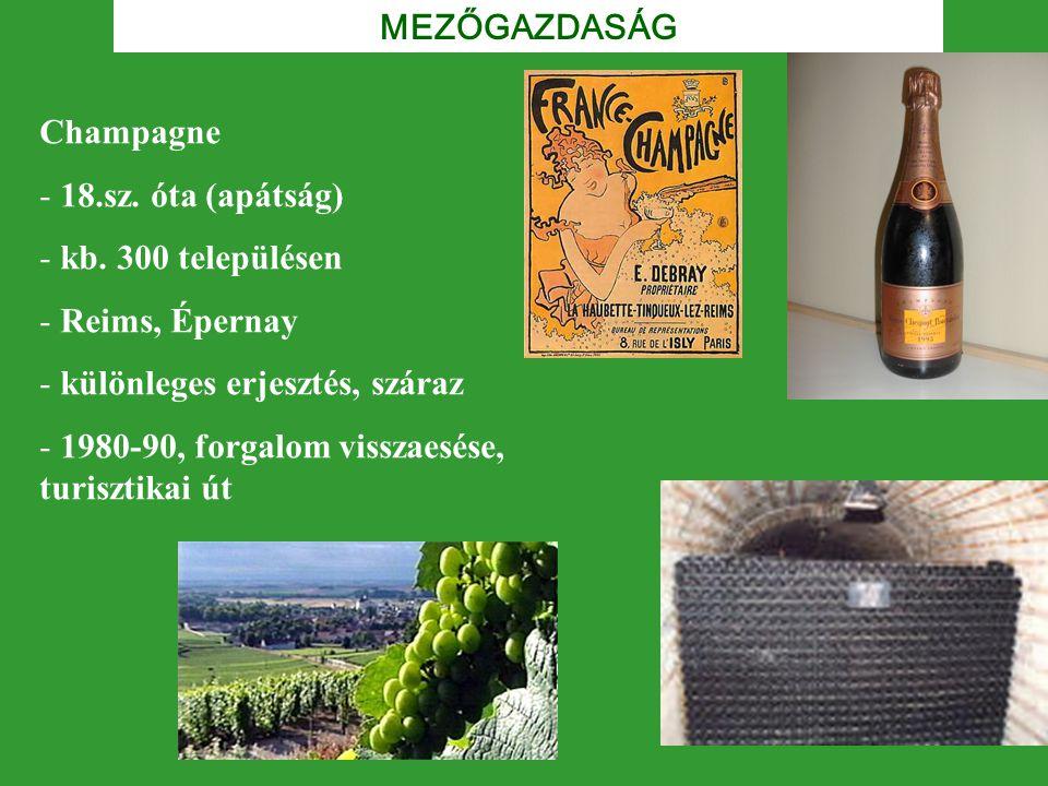 MEZŐGAZDASÁG Champagne. 18.sz. óta (apátság) kb. 300 településen. Reims, Épernay. különleges erjesztés, száraz.