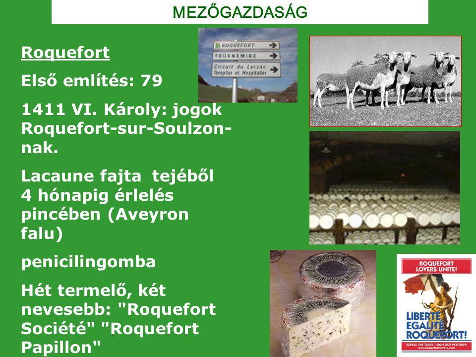 MEZŐGAZDASÁG Roquefort. Első említés: 79. 1411 VI. Károly: jogok Roquefort-sur-Soulzon-nak.