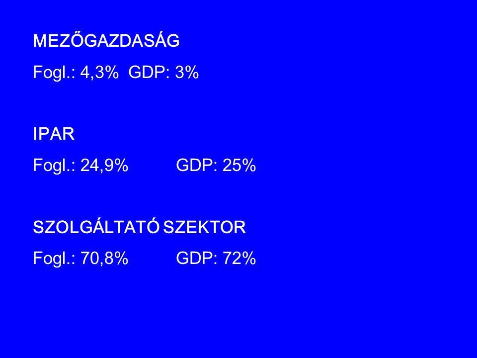 MEZŐGAZDASÁG Fogl.: 4,3% GDP: 3% IPAR. Fogl.: 24,9% GDP: 25% SZOLGÁLTATÓ SZEKTOR.