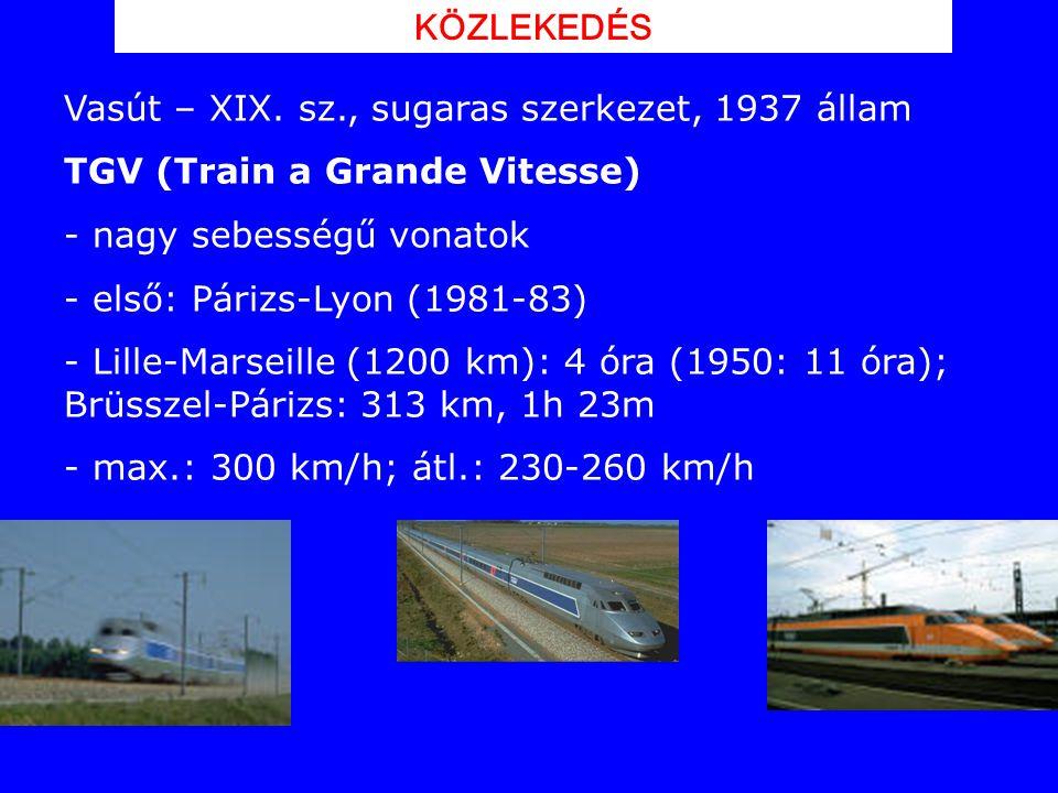 KÖZLEKEDÉS Vasút – XIX. sz., sugaras szerkezet, 1937 állam. TGV (Train a Grande Vitesse) nagy sebességű vonatok.