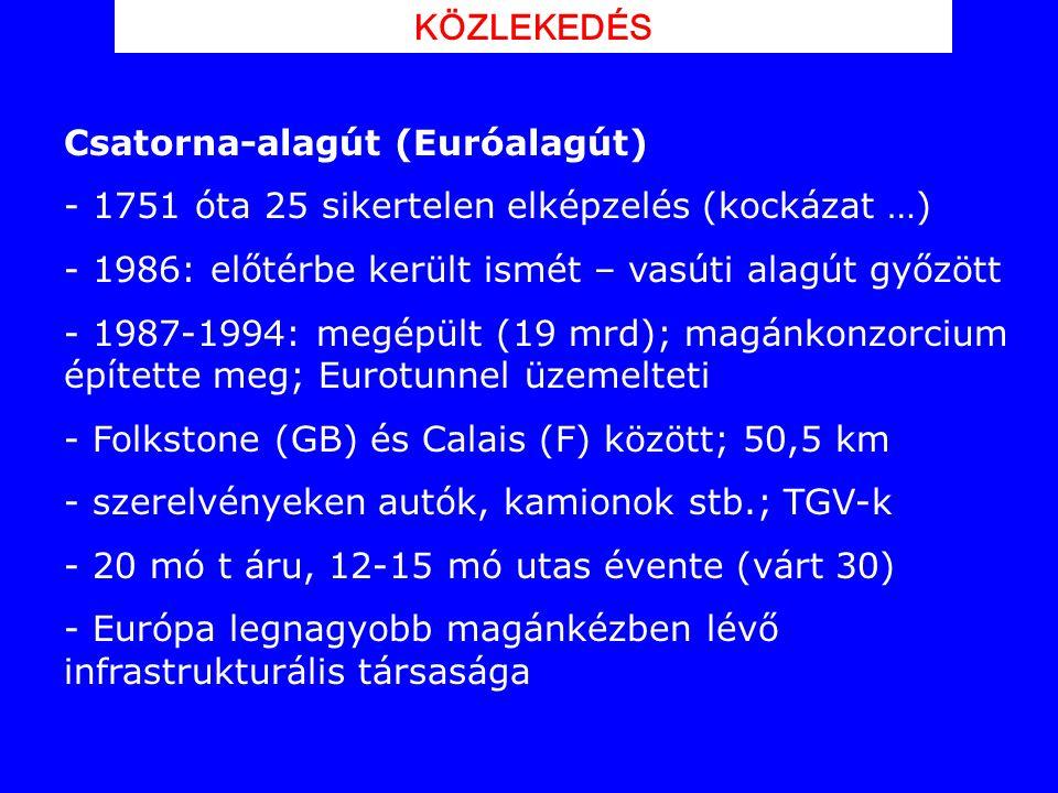 KÖZLEKEDÉS Csatorna-alagút (Euróalagút) 1751 óta 25 sikertelen elképzelés (kockázat …) 1986: előtérbe került ismét – vasúti alagút győzött.