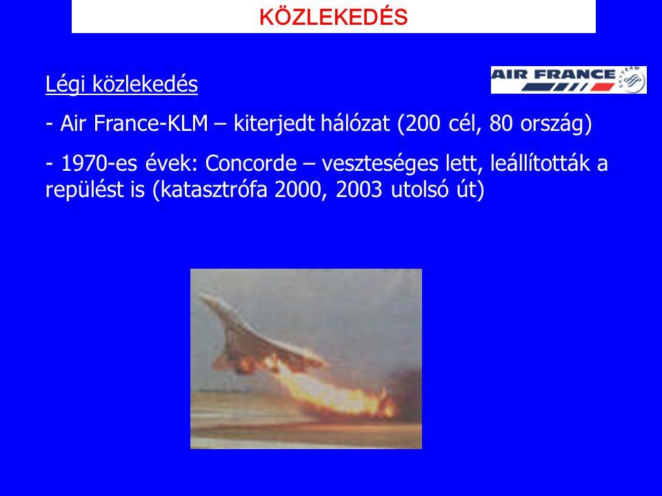 KÖZLEKEDÉS Légi közlekedés. Air France-KLM – kiterjedt hálózat (200 cél, 80 ország)