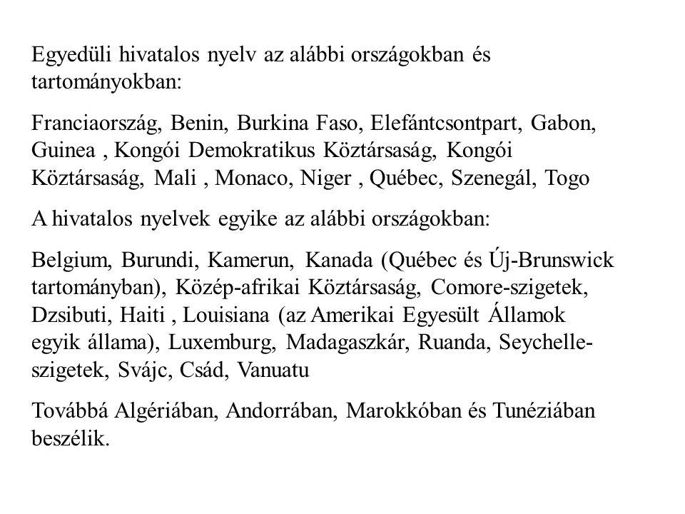 Egyedüli hivatalos nyelv az alábbi országokban és tartományokban: