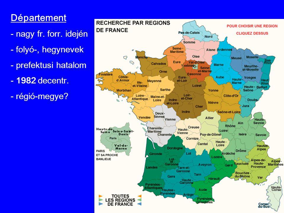 Département nagy fr. forr. idején folyó-, hegynevek prefektusi hatalom