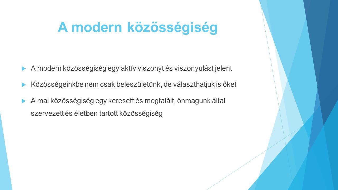 A modern közösségiség A modern közösségiség egy aktív viszonyt és viszonyulást jelent.