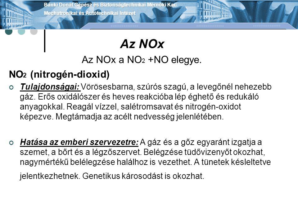 Az NOx Az NOx a NO2 +NO elegye. NO2 (nitrogén-dioxid)