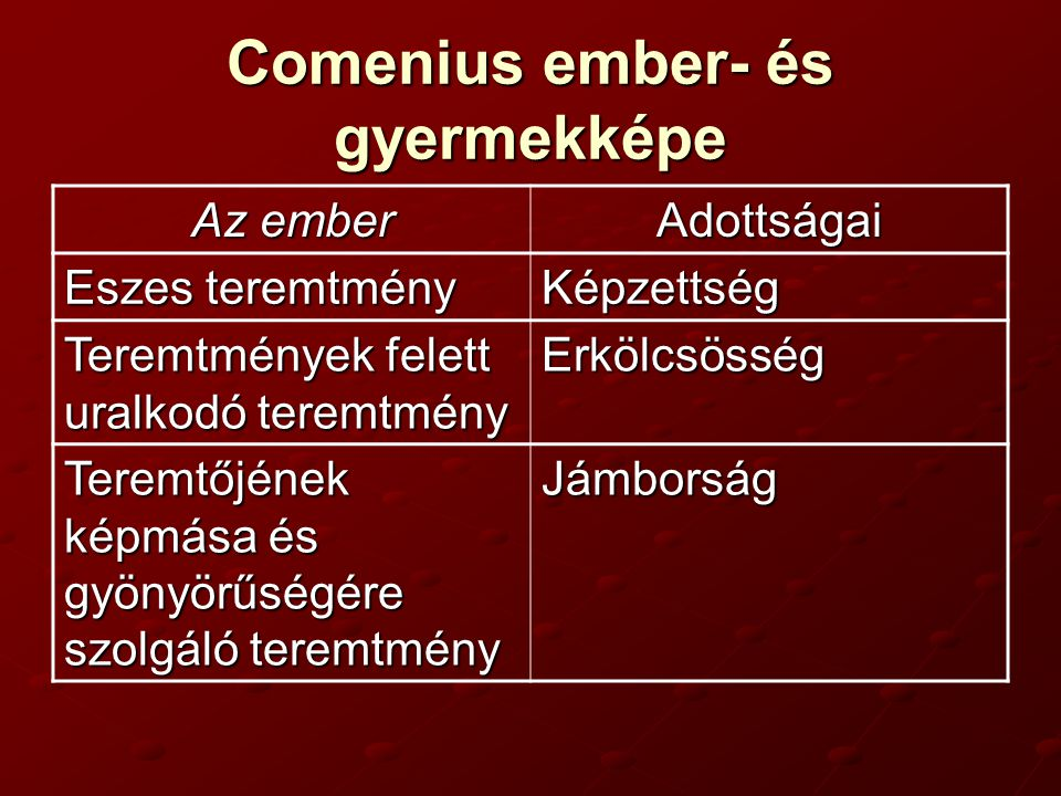 Comenius ember- és gyermekképe