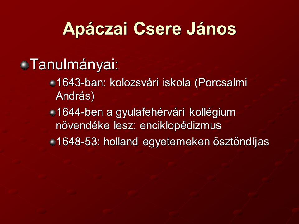 Apáczai Csere János Tanulmányai: