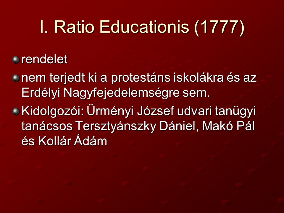 I. Ratio Educationis (1777) rendelet