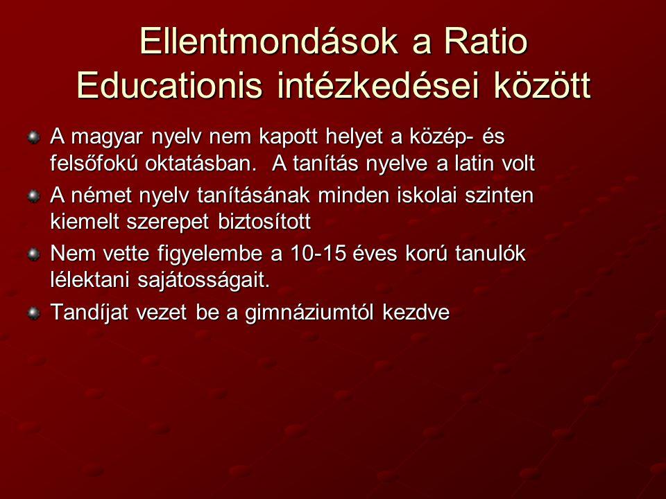 Ellentmondások a Ratio Educationis intézkedései között