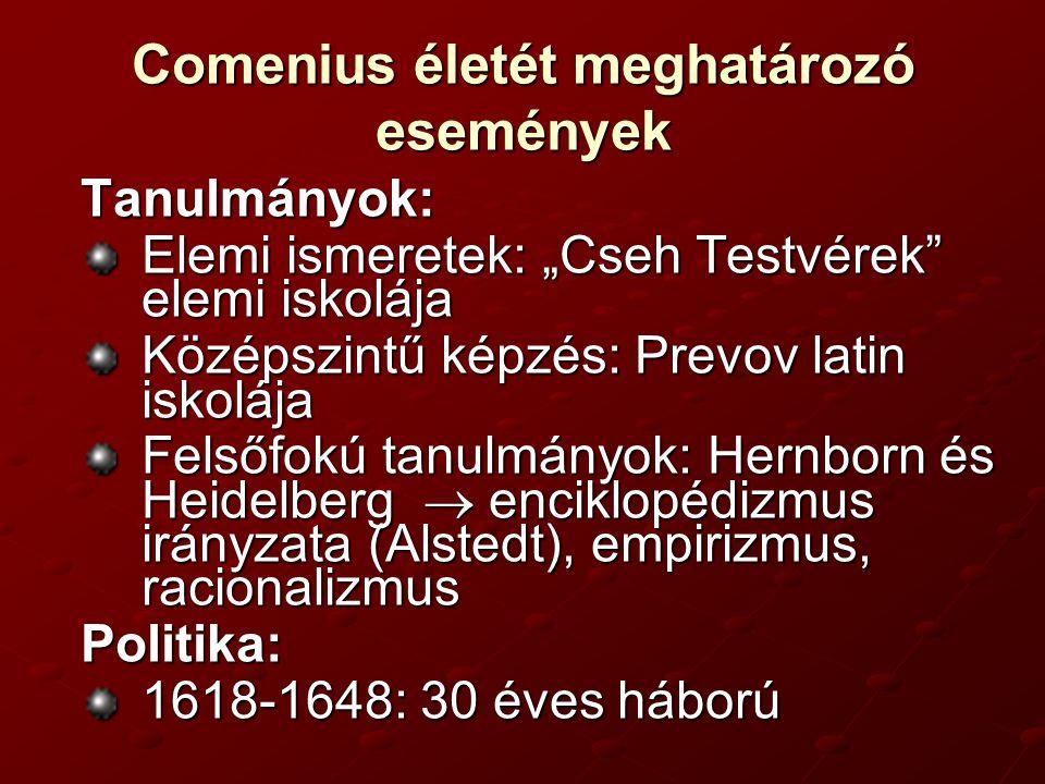 Comenius életét meghatározó események