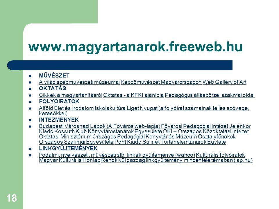 www.magyartanarok.freeweb.hu MŰVÉSZET