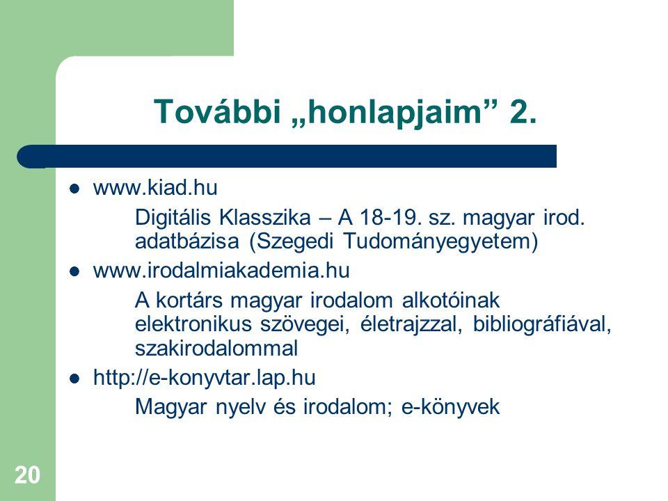 "További ""honlapjaim 2. www.kiad.hu"