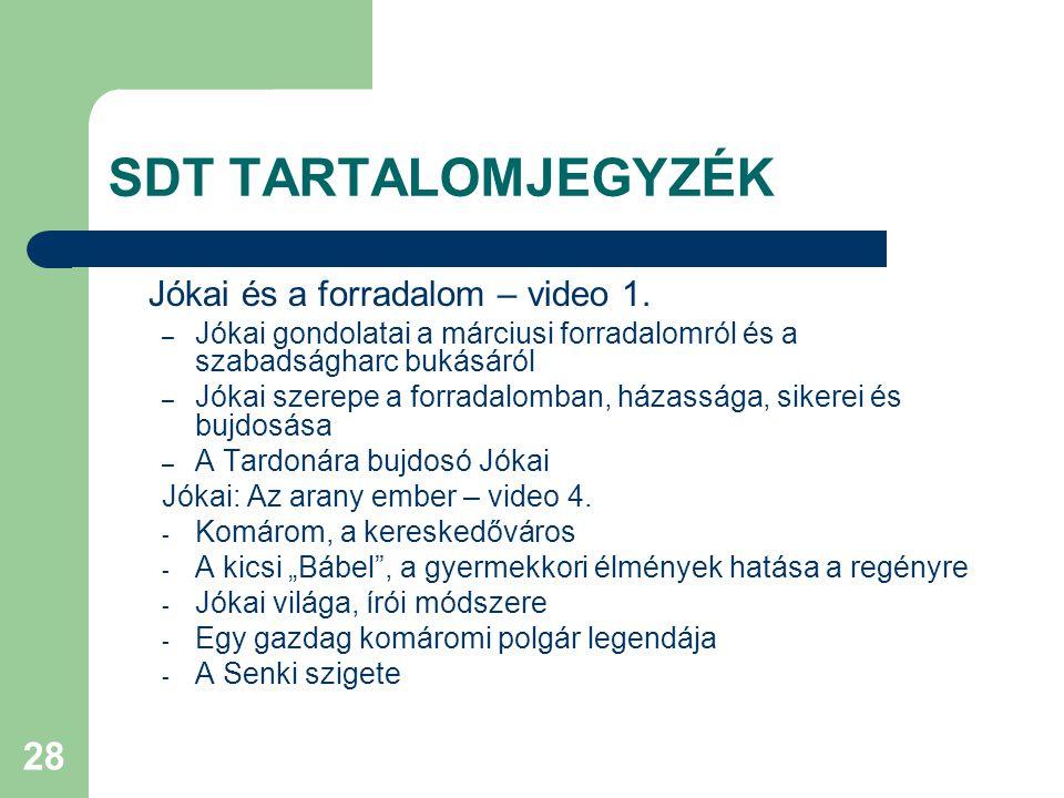 SDT TARTALOMJEGYZÉK Jókai és a forradalom – video 1.