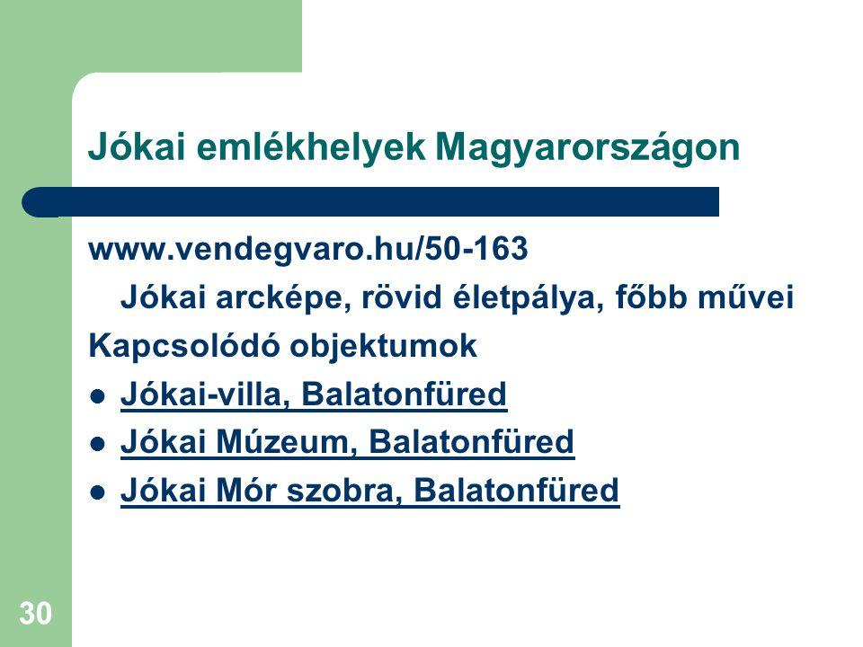 Jókai emlékhelyek Magyarországon