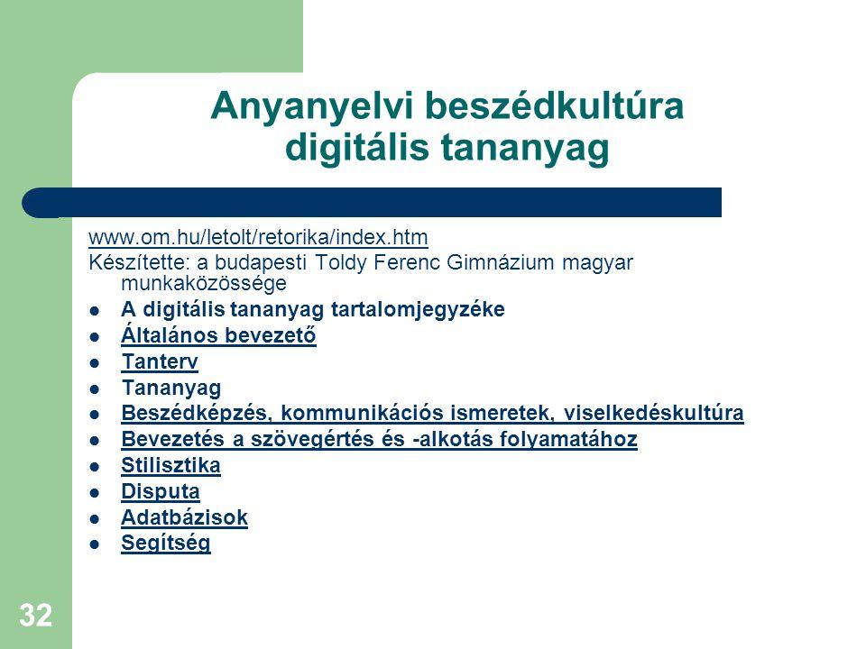 Anyanyelvi beszédkultúra digitális tananyag