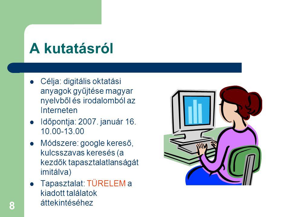 A kutatásról Célja: digitális oktatási anyagok gyűjtése magyar nyelvből és irodalomból az Interneten.
