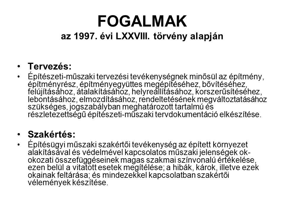 FOGALMAK az 1997. évi LXXVIII. törvény alapján