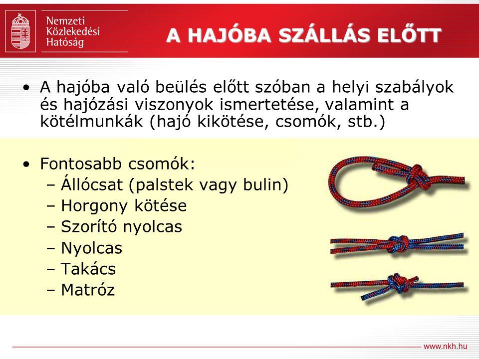 A HAJÓBA SZÁLLÁS ELŐTT