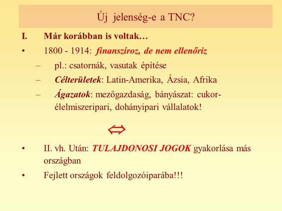  Új jelenség-e a TNC Már korábban is voltak…