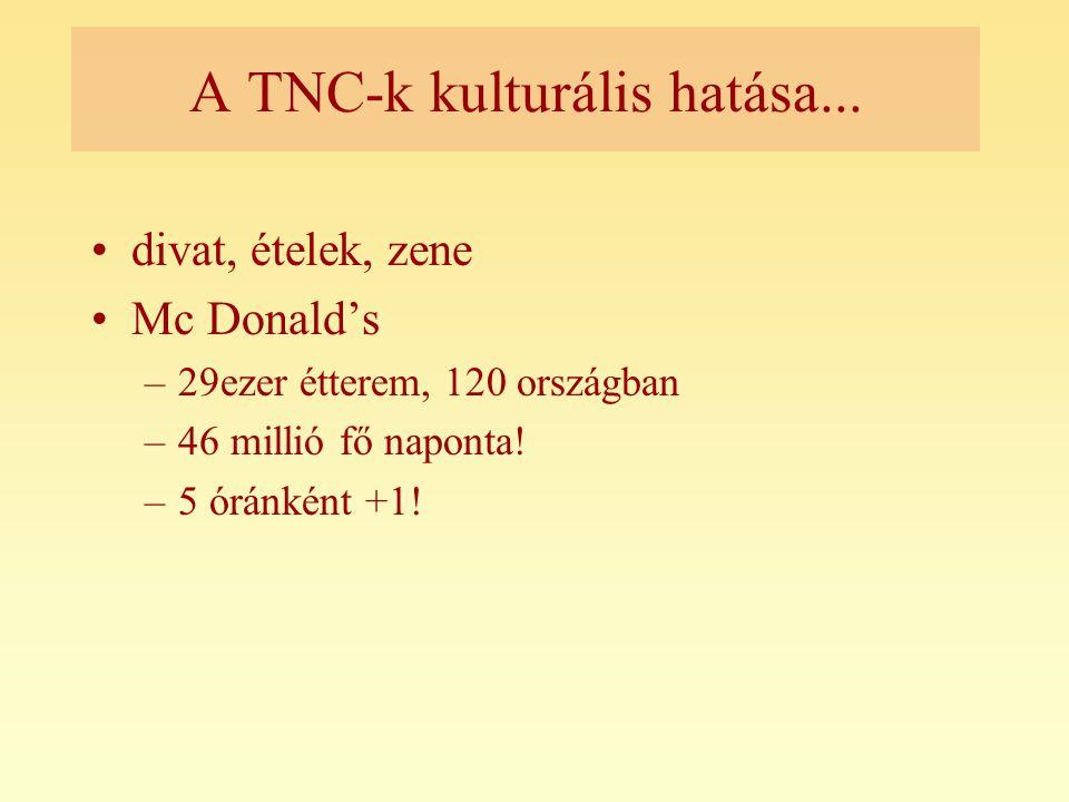 A TNC-k kulturális hatása...