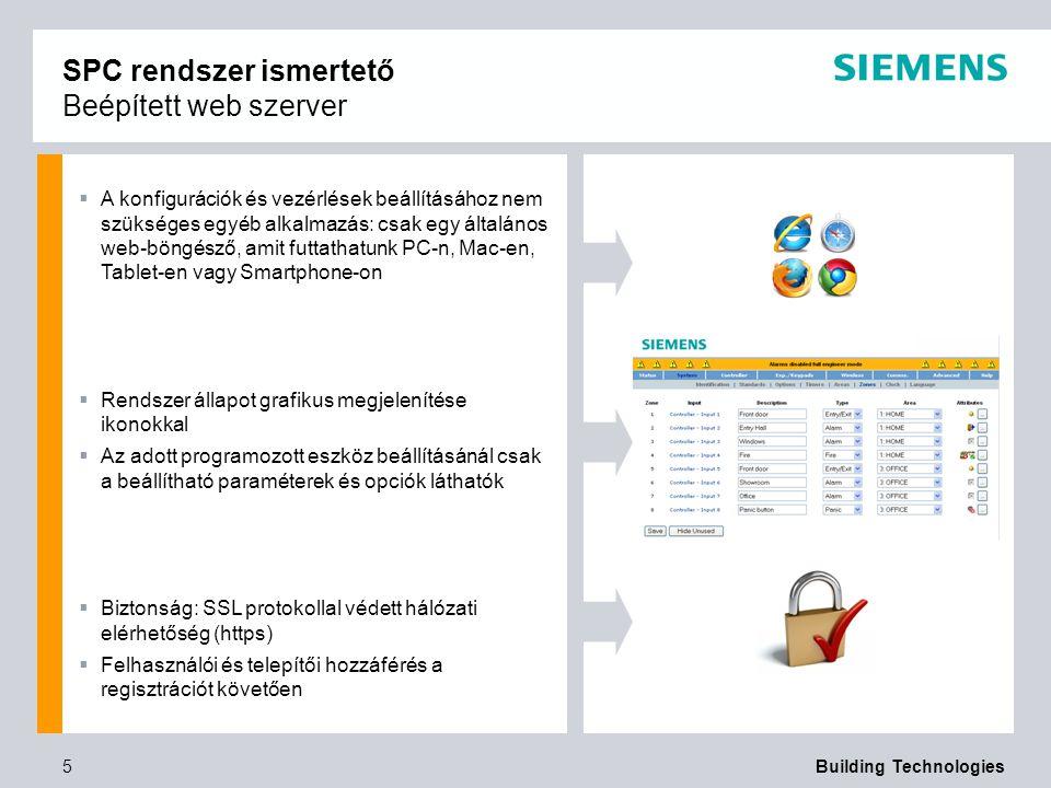 SPC rendszer ismertető Beépített web szerver