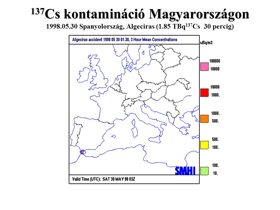 137Cs kontamináció Magyarországon 1998. 05