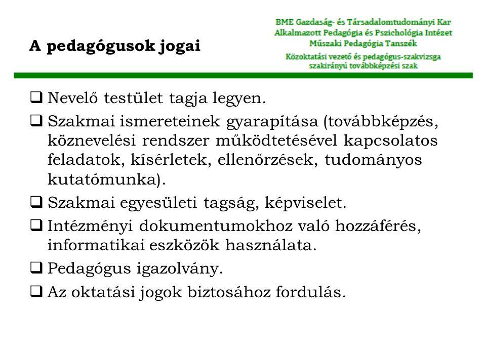 A pedagógusok jogai Nevelő testület tagja legyen.