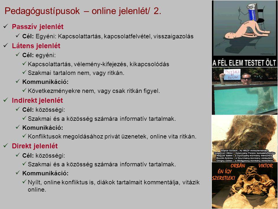 Pedagógustípusok – online jelenlét/ 2.