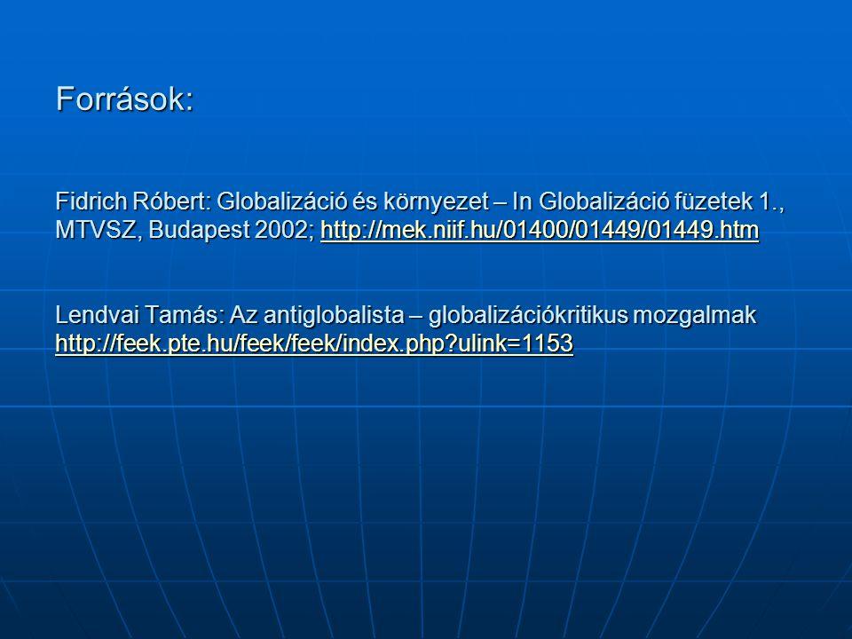 Források: Fidrich Róbert: Globalizáció és környezet – In Globalizáció füzetek 1., MTVSZ, Budapest 2002; http://mek.niif.hu/01400/01449/01449.htm Lendvai Tamás: Az antiglobalista – globalizációkritikus mozgalmak http://feek.pte.hu/feek/feek/index.php ulink=1153
