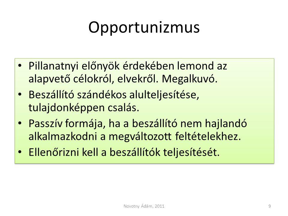 Opportunizmus Pillanatnyi előnyök érdekében lemond az alapvető célokról, elvekről. Megalkuvó.