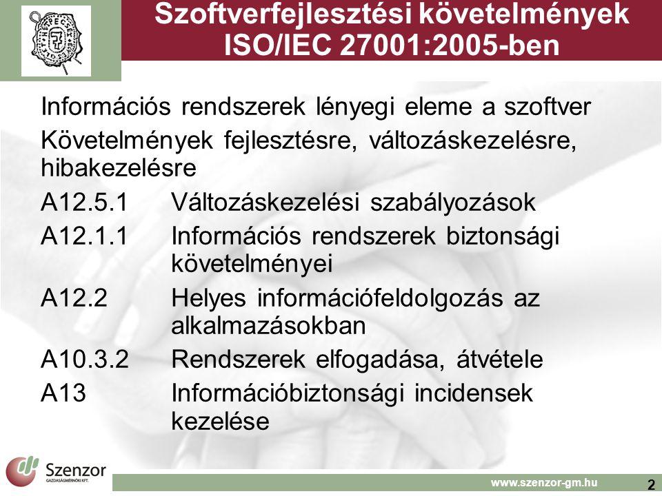 Szoftverfejlesztési követelmények ISO/IEC 27001:2005-ben